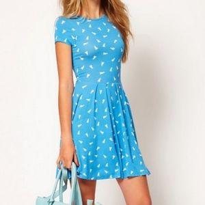 ASOS duck print blue skater dress